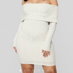 Off the shoulder sweater dress from Fashion Nova